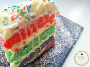 κέικ ουράνιο τόξο (rainbow cake). τούρτα, χρώμα, γενέθλια, πάρτυ, κέικ