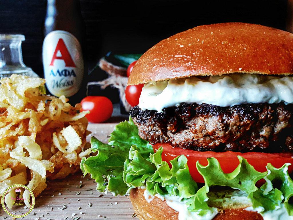 Ανατολίτικο burger-ΑΛΦΑ weiss-Αθηναική ζυθοποιεία-burger-μπύρα