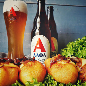 corn dog-beer-alfa-beer-alfa beer-finger food