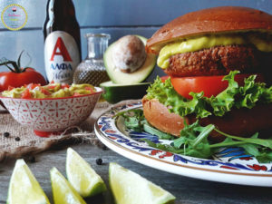 alfa beer-alfa weiss-salmon-burger-pandoras kitchen