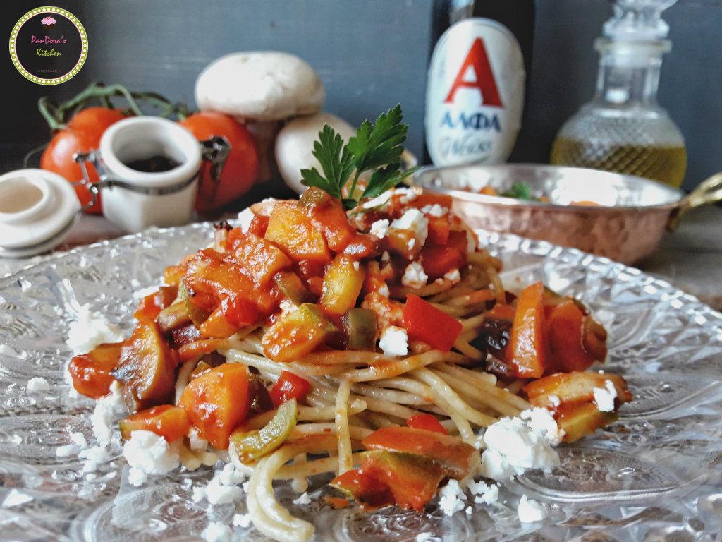 Μακαρόνια ολικής αλέσεως με κιμά λαχανικών-μακαρόνια-μπύρα-ΑΛΦΑ-λαχανικά